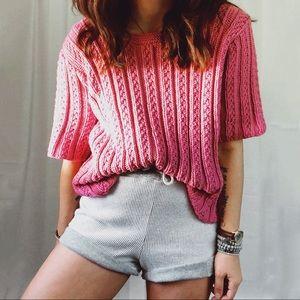 VINTAGE • boxy pink oversized chunky sweater
